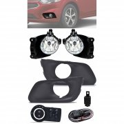 Kit Farol de Milha Neblina Chevrolet Onix e Novo Prisma LT e LTZ  2017 2018 2019 2020 Com Moldura- Interruptor Modelo Original