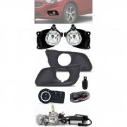 Kit Farol de Milha Neblina Chevrolet Onix e Novo Prisma LT e LTZ 2017 2018 2019 2020 Com Moldura + Kit Lâmpada Super LED 6000K