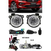 Kit Farol de Milha Neblina Fiat Cronos 2018 2019 - Interruptor Alternativo + Kit Xenon 6000K / 8000K ou Kit Lâmpada Super LED 6000K
