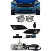 Kit Farol de Milha Neblina Ford New Fiesta 2013 2014 2015 2016 2017 Botão Painel + Kit Lâmpada Super LED 6000K