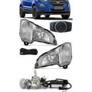 Kit Farol de Milha Neblina Ford Nova Ecosport 2017 2018 2019 2020 - Botão Painel + Kit Lâmpada Super LED 6000K