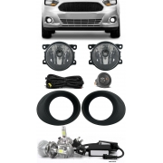 Kit Farol de Milha Neblina Ford Novo Ka 2015 2016 2017 2018 2019 2020 2021 + Kit Lâmpada Super LED 6000K - Botão Alternativo