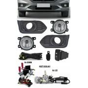 Kit Farol de Milha Neblina Honda City 2018 2019 2020 Moldura Preta + Kit Xenon 6000K / 8000K ou Kit Lâmpada Super LED 6000K