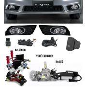 Kit Farol de Milha Neblina Honda New Civic 2012 / 2013 / 2014 - Interruptor Modelo Original + Kit Xenon 6000K / 8000K ou Kit Lâmpada Super LED 6000K