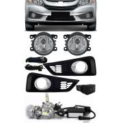 Kit Farol de Milha Neblina Honda Novo City 2014 2015 2016 2017 + Moldura Aro Cromo + Kit Lâmpada Super LED 6000K