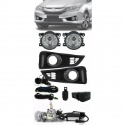 Kit Farol de Milha Neblina Honda Novo City 2014 2015 2016 Com LED DRL + Kit Lâmpada Super LED 6000K