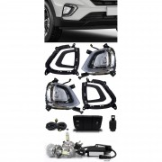 Kit Farol de Milha Neblina Hyundai Creta 2020 LED DRL PCD Attitude Smart + Kit Lâmpada Super LED 6000K