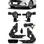 Kit Farol de Milha Neblina Hyundai HB20 HB20S 2020 2021 Botão Painel