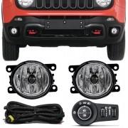 Kit Farol de Milha Neblina Jeep Renegade - Botão Painel