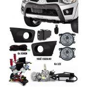 Kit Farol de Milha Neblina Mitsubishi L200 Triton 2011 2012 2013 2014 2015 + Kit Xenon 6000K / 8000K ou Kit Lâmpada Super LED 6000K
