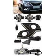 Kit Farol de Milha Neblina Nissan Versa 2015 2016 2017 2018 2019 2020 Com LED DRL + Kit Lâmpada Super LED 6000K