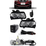 Kit Farol de Milha Neblina Nissan Kicks 2017 2018 - Interruptor Modelo Original + Kit Lâmpada Super LED 6000K