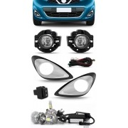 Kit Farol de Milha Neblina Nissan March 2014 2015 2016 2017 2018 + Kit Lâmpada Super LED 6000K