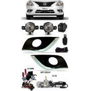 Kit Farol de Milha Neblina Nissan Versa 2015 2016 2017 2018 2019 2020 Com Molduras Externas Kit Xenon 6000K / 8000K ou Kit Lâmpada Super LED 6000K