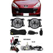 Kit Farol de Milha Neblina Peugeot 307 2007 à 2012 - Interruptor Alternativo + Kit Xenon 6000K 8000K ou Kit Lâmpada Super LED 6000K