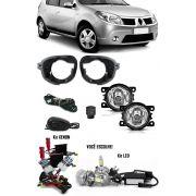 Kit Farol de Milha Neblina Renault Sandero 2007 2008 2009 2010 2011 + Kit Xenon 6000K 8000K ou Kit Lâmpada Super LED 6000K
