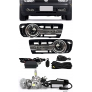 Kit Farol de Milha Neblina Vw Golf 1998 à 2005 Com LED DRL Daylight + Kit Lâmpada Super LED 6000K
