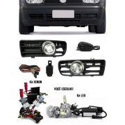Kit Farol de Milha Neblina Vw Golf 1999 2000 2001 2002 2003 2004 2005 2006 Botão Alternativo + Kit Xenon 6000K 8000K ou Kit Lâmpada Super LED 6000K