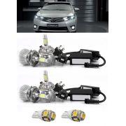 Kit Lâmpada Super LED Toyota Corolla 2015 2016 2017 Farol Baixo + Farol Milha  + Lâmpada Pingo Total 6 Lâmpadas - Efeito Xenon