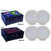 Kit Som Ambiente Fifty Four USB Bluetooth Com 4 Arandelas