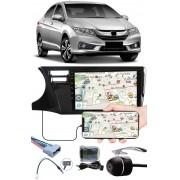 """Multimídia 9"""" Polegadas Honda City 2015 à 2020 Espelhamento USB Bluetooth + Chicotes + Interface Volante + Moldura Painel + Câmera de Ré"""