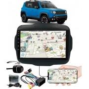 """Multimídia 9"""" Polegadas Jeep Renegade Espelhamento USB Bluetooth + Moldura Painel + Interface Volante + Chicotes + Câmera de Ré"""
