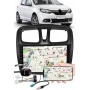 """Multimídia 9"""" Polegadas Renault Sandero 2017 à 2021 Espelhamento USB Bluetooth + Moldura Painel + Chicotes + Câmera de Ré"""