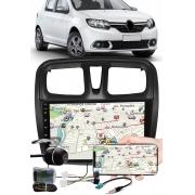 """Multimídia 9"""" Polegadas Renault Sandero 2017 à 2021 Espelhamento USB Bluetooth + Moldura Painel + Interface Volante + Chicotes + Câmera de Ré"""