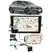 """Multimídia 9"""" Polegadas Vw Novo Polo Espelhamento USB Bluetooth + Chicotes + Interface Volante + Moldura Painel + Câmera de Ré"""