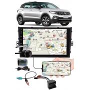 """Multimídia 9"""" Polegadas Vw T-Cross Espelhamento USB Bluetooth + Chicotes + Interface Volante + Moldura Painel + Câmera de Ré"""