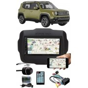 Multimídia Jeep Renegade Espelhamento Bluetooth USB SD Card + Interface Comando Volante + Moldura + Chicotes + Câmera Ré