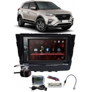 Multimídia Pioneer DMH-G228BT Hyundai Creta Bluetooth USB + Moldura + Interface Volante + Chicotes + Câmera Ré