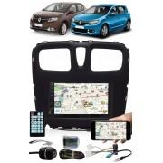 Multimídia Renault Logan Sandero 2015 à 2020 Espelhamento Bluetooth USB SD Card + Interface Comando Volante + Moldura + Chicotes + Câmera Ré