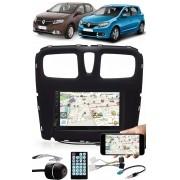 Multimídia Renault Logan Sandero 2015 à 2020 Espelhamento Bluetooth USB SD Card + Moldura + Chicotes + Câmera Ré