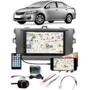 Multimídia Toyota Corolla 2009 à 2013 Espelhamento Bluetooth USB SD Card + Interface Comando Volante + Moldura + Chicotes + Câmera Ré