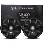 """Par Alto Falante Midbass Hurricane Pro MB800 8"""" Polegadas 600W RMS Bobina Simples"""