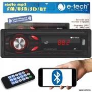 Som Automotivo Rádio MP3 E-Tech Light Bluetooth USB SD Card