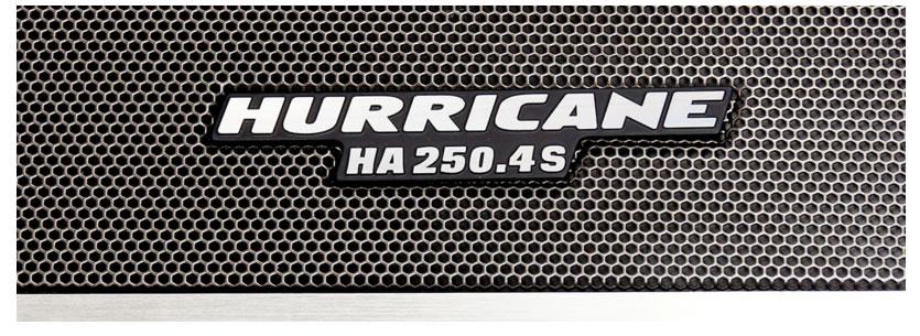 Módulo Amplificador Hurricane HA 250.4S 1000W RMS 4 Canais 2 Ohms RCA