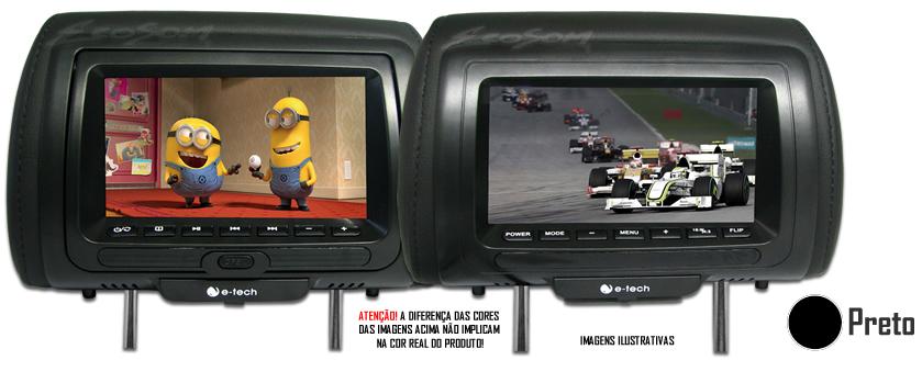 Par Encostos / Descanso De Cabeça E-Tech 1 Com Leitor De DVD - 1 AV Universal - Couro Tela LCD 7´ - 2 Peças