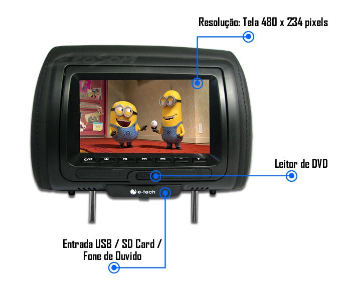 Encosto / Descanso De Cabeça E-Tech Com Leitor de DVD Universal - Couro Tela LCD 7´ - 1 Peça