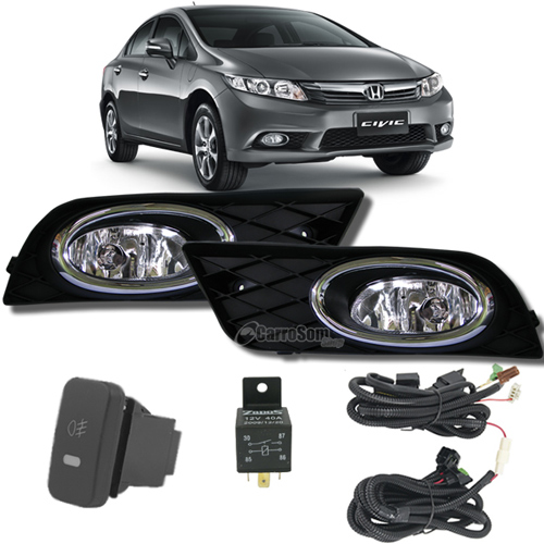 Kit Farol de Milha Neblina Honda New Civic 2012 / 2013 / 2014 - Interruptor Modelo Original