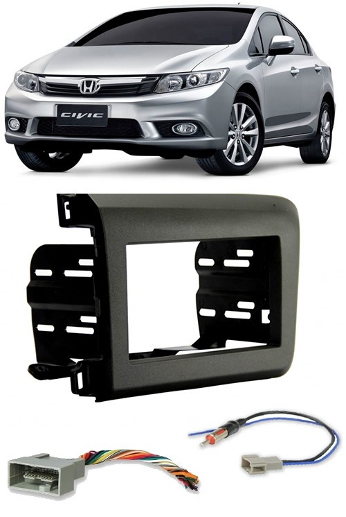 Moldura De Painel 2 Din Honda New Civic 2012 2013 2014 2015 2016 + Chicote Ligação e Adaptador de Antena