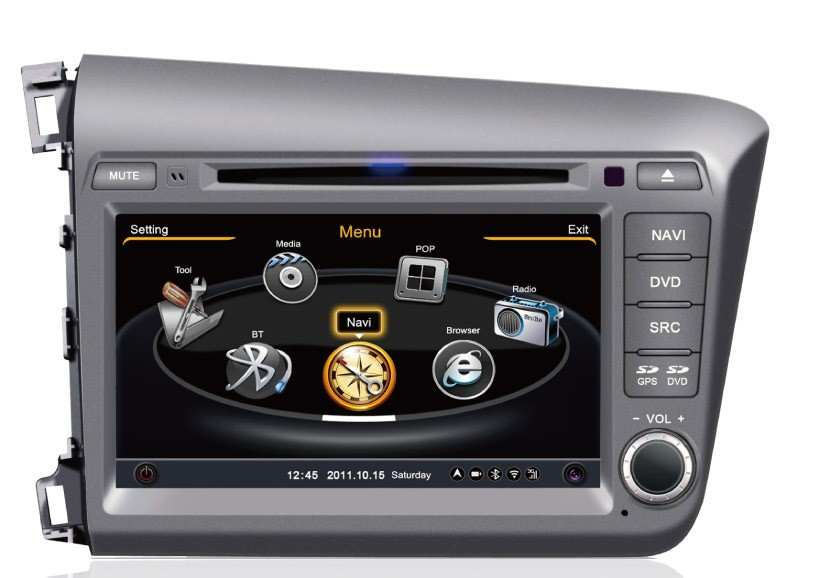 Central Multimídia Honda Civic 2012 2013 2014 - CINZA-  Com DVD GPS Mapa Bluetooth MP3 USB Ipod SD Card Câmera Ré Grátis - Winca