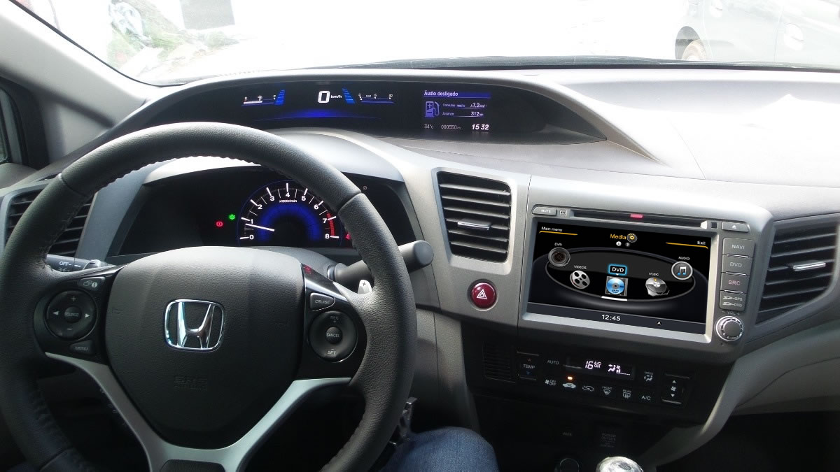 Central Multimídia Honda Civic 2012 2013 2014 - CINZA-  Com DVD GPS Mapa Bluetooth MP3 USB Ipod SD Card Câmera Ré Grátis - Winca