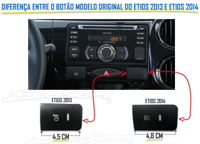 Kit Farol de Milha Neblina Toyota Etios 2012 / 2013 - Interruptor Modelo Original