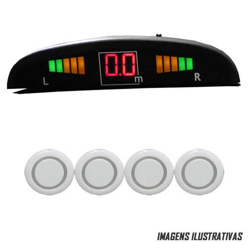 Sensor De Estacionamento - Universal Com Display Aviso Sonoro - 4 Sensores - Branco