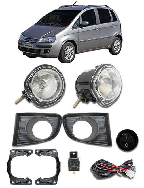 Kit Farol de Milha Neblina Fiat Idea 2006 2007 2008 2009 2010 - Interruptor Alternativo