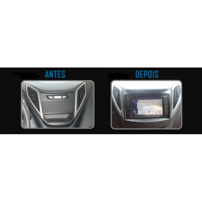 Moldura De Painel  Para CD DVD 2 Din Hyundai HB20  - Sem Som Original De Fábrica