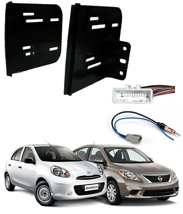 Moldura De Painel Para CD DVD 2 Din Nissan March / Versa - 2012 2013 2014  - acoplado c/  suportes
