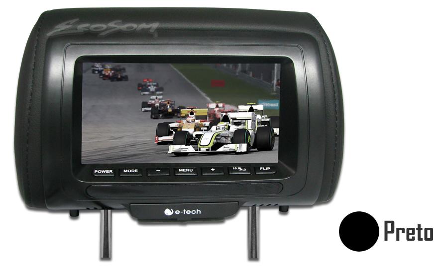 Encosto / Descanso De Cabeça E-Tech Universal - Couro Tela LCD 7´ - 1 Pç.